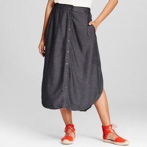 Merona Striped Button Front Midi Skirt Medium